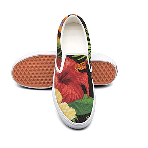 RegiDreae Canvas Slip on Sneakers for Women Watercolor Tropical Hibiscus Flowers Fashion Sneaker