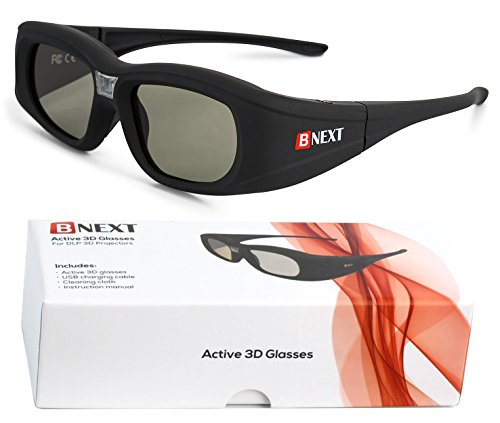 3D Glasses for DLP Projectors with Improved Eye Protection System - Compatible with Optoma BenQ Viewsonic Panasonic Mitsubishi Vivitek Dell Acer & more - Rechargeable Active Shutter Glasses DLP-Link