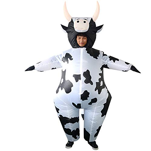 Inflatable Cow Costume Fancy Dress Cosplay Farm Animals Blow Up Jumpsuit Halloween for Adult White -