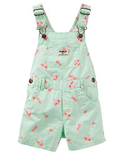 - OshKosh Baby Girls Palm Tree Shortalls, Mint green, 9m