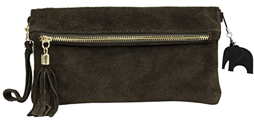 Suede Wedding Z Purse Party Clearance Italian Womens Wristlet LiaTalia Coffee Bag Ruth Real Clutch Evening Leather A8tOpx