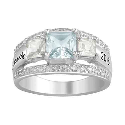 (ArtCarved Clear Memories Simulated Birthstone Class of 2018, 2019, 2020 Women's Ring, Sterling Silver, Size 9)