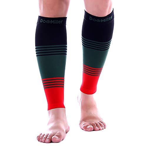 Doc Miller Premium Calf Compression Sleeve Dress Series 1 Pair 20-30mmHg Strong Support Graduated Sock Pressure Sports Running Recovery Shin Splints Varicose Veins (BlackGreenRed, XX-Large)
