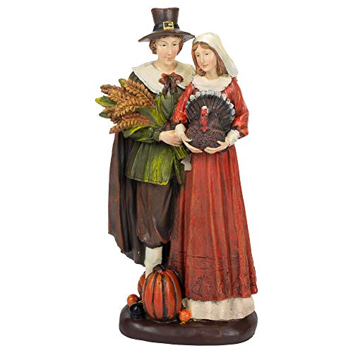 Delton Products Connected Pilgrim Couple 14 Inches Resin Collectible Figurines
