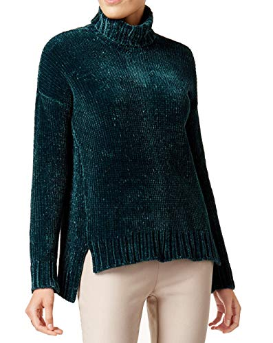 Marled Reunited Clothing Womens Chenille Long Sleeve Turtleneck Sweater Green L ()