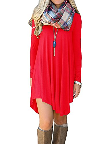 Women's Long Sleeve Casual Loose T-Shirt Dress Red XL