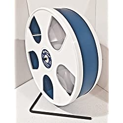 "SUGAR GLIDER, HEDGEHOG, SMALL ANIMAL 11"" DIAMETER WODENT EXERCISE WHEEL (WHITE WITH DARK BLUE) TOTAL HEIGHT 12.3"""
