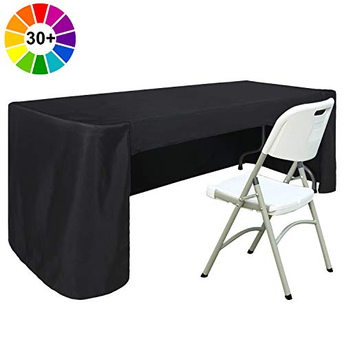ABCCANOPY 6 FT Rectangle Table Cloth Table Cover for Rectangular Table in Washable Polyester-Great for Buffet Table, Parties, Holiday Dinner, Wedding & More (Black)