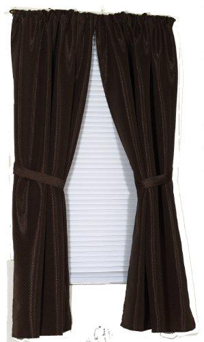 Curtain Window Bathroom Fabric (Carnation Home Fashions Lauren Dobby Fabric Bathroom Window Curtain, 34-Inch by 54-Inch, Brown)