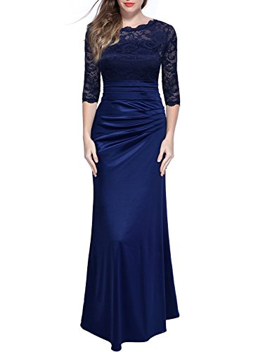 Miusol-Womens-Retro-Floral-Lace-Vintage-23-Sleeve-Slim-Ruched-Wedding-Maxi-Dress