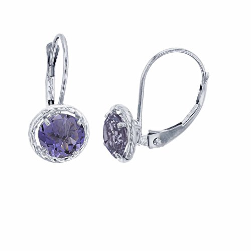 Green Iolite Earrings - 14K White Gold 6mm Round Iolite Center Stone Rope Frame Leverback Earring