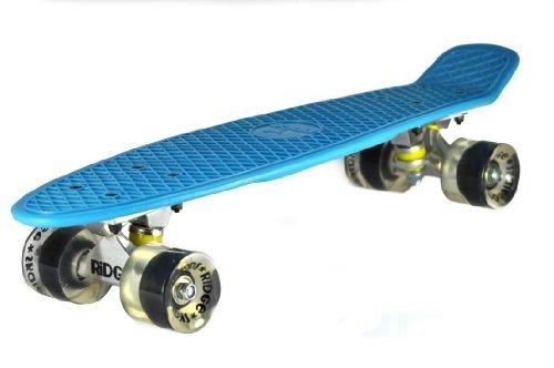 Ridge Skateboards Big Brother Large Retro Cruiser - Blue/Clear Wheels, 27 Inch