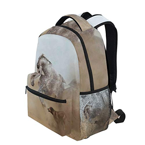KVMV Lusitanian Horse Playing with Dog Sand Storm Wild Fast Companion Friendship Lightweight School Backpack Students College Bag Travel Hiking Camping Bags