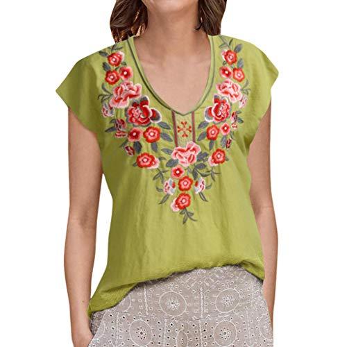 LYN Star ◈ Women Bohemian Short Sleeve V Neck Floral Print T Shirt Tops Blouse Tee Printed Chiffon Blouse Loose Shirts Green