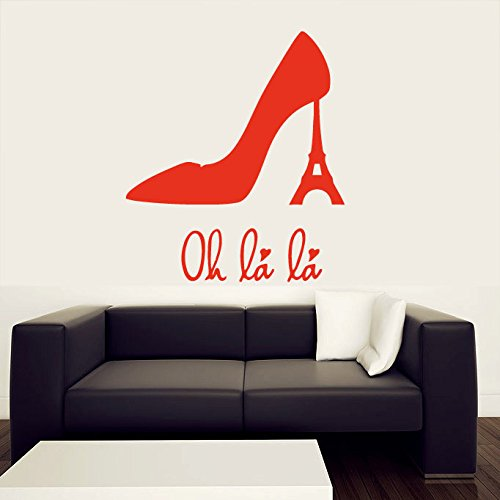 Paris Shoe Size - Wall Decal Vinyl Sticker Decals Art Decor Design Sign Oh La La Paris Eiffel Tower Shoes Heel Women France Love Living Room Bedroom (r408)