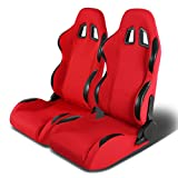 Pair of Full Reclinable Red and Black Trim Carbon Look PVC Leather Type-R Racing Seat+Adjustable Sliders