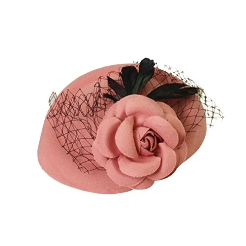 Mwfus Women Girls Rose Flower Feather Mini Top Hat Fascinator Kentucky Derby Hair Clip Mesh Hairpin
