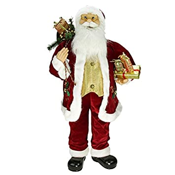 Northlight 36 Traditional Holly Berry Standing Santa Claus Christmas Figure with Presents and Gift Bag