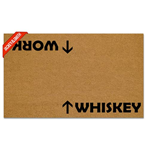 Jackey&Smith Welcome Mat Whiskey Work Door Mat Funny Doormat Entrance Floor Mat Rug Non Slip Balcony Mat Felt Fabric 30 inch X 18 inch