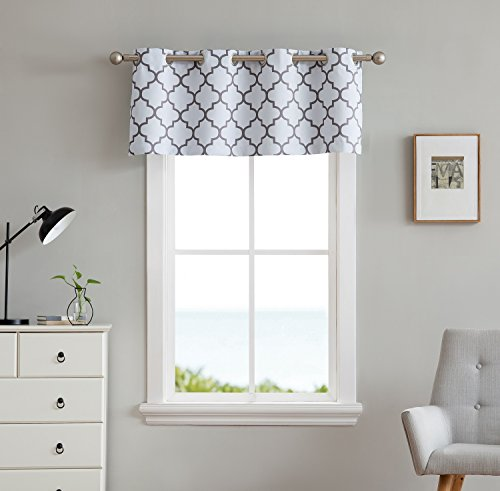 White Thermal Print (HLC.ME Lattice Print Thermal Grommet Blackout Valance for Windows - Platinum White / Grey - 52