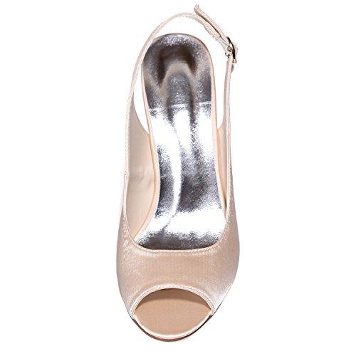 pour Platform Chaussures Peep De Talons Hauts Prom Toes 9 Mariage Court Elobaby Femmes sur Bal Talon Shoes Silver De Toe pt7S7