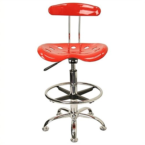 Scranton and Co Drafting Chair Seat in Red and Chrome