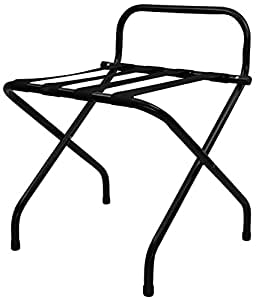 Black Folding Luggage Rack / Suitcase Stand with back