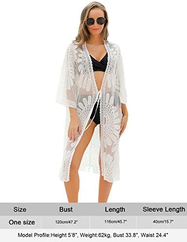 Blooming Jelly Women's Swimsuit Cover Ups Lace Floral Crochet Beachwear Long Kimono Cardigan