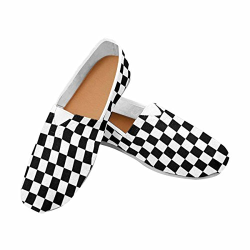 5c69da2cb76 InterestPrint Women s Loafers Classic Casual Canvas Slip On Shoes Sneakers  Flats Black and White Checkered Background