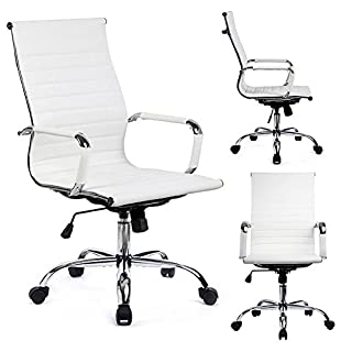 GTPOFFICE Desk Chair Ribbed Conference Office Chair Modern Swivel Leather High Back Ergonomic Adjustable Chair with Arms