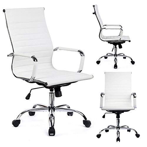 GTPOFFICE Desk Chair Ribbed Conference Office Chair Modern Swivel Leather High Back Ergonomic Adjustable Chair with Arms ()