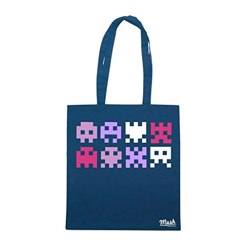 Borsa Space Invaders Logo - Blu Navy - Games by Mush Dress Your Style