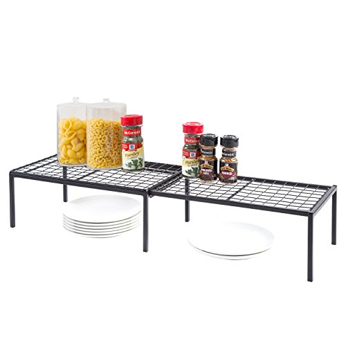 Expandable Black Wire Metal Kitchen Counter Shelving Rack, Cabinet Storage Organizer