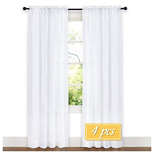 NICETOWN 4 Panels Sheer Curtains 95 Rod Pocket Plain Tulle Sheer Voile Panel Window Curtains/Draperies / Panels Set for Hall (4 Pieces, W60 x L95, (Sheer Panel Window Panels)