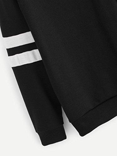 Lunga Donna Maglione Camicetta Casuale Moda Top Sweatshirt Felpe Elegante Stampato Cappuccio Stampa Felpa Hoodie Ragazza Cappotto Nero Feixiang Manica Pianeta Casual Con Xqx0SwH