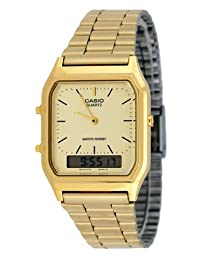 Casio AQ230GA-9D Men's Analog Digital Dual Time Gold Tone Metal Band Watch
