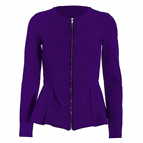 54 Blazer Veste Tailored Eu Mesdames Ruffle Peplum Purple Sleeve 36 Long Haut Up Zip Islander Femmes Fashions YBwZ0Z