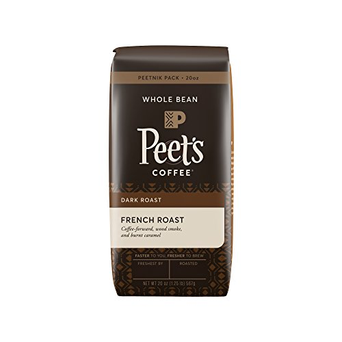 Peet's Coffee, Peetnik Pack, French Roast, Dark Roast, Whole Bean Coffee, 20 oz. Bag, Bold, Intense, & Complex Dark Roast Blend of Latin American Coffees, with A Smoky Flavor & Pleasant (Organic Coffee Whole Bean French)