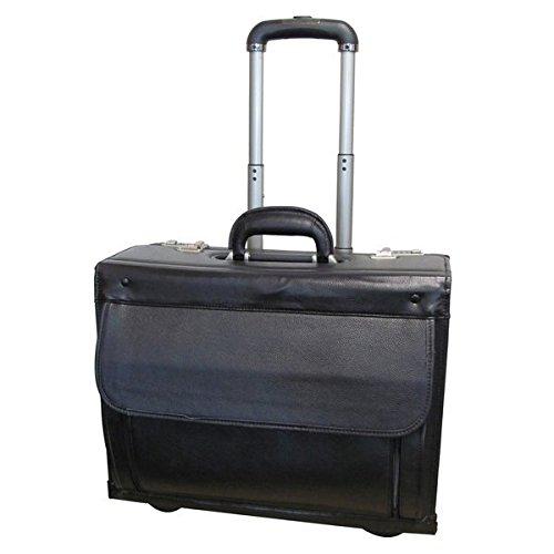 Single Piece Black Wheeling Briefcase, Locking, Solid Pattern, Cowhide Leather Catalog Case, Inline Skate Wheels, Adjustable Handle, Removable Padded Nylon sleeve, Interior laptop Pocket