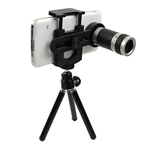 Efanr 8X Zoom Magnifier Optical Telescope Mobile Phone Camera Lens with Retractable Mini Tripod...