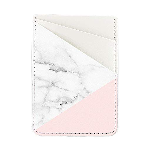 - Obbii Baby Pink Marble PU Leather Card Holder for Back of Phone with 3M Adhesive Stick-on Credit Card Wallet Pockets for iPhone and Android Smartphones