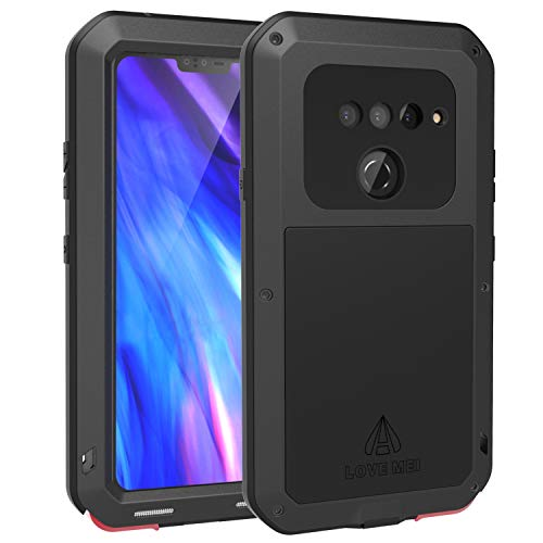LOVE MEI LG V40 ThinQ Case with Tempered Glass Screen Protector, [Powerful Series] Shockproof Dustproof Scratch Proof Hybrid Metal and Silicone Gel Extreme Heavy Duty Tank Case for LG V40 (Black)