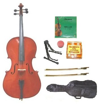 Merano MC10 1/2 Size Student Cello with Soft Carrying Bag and Bow+2 Sets Strings+2 Bows+Pitch Pipe+Cello Stand+Rosin by Merano
