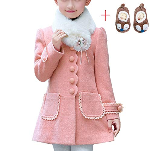 (LSERVER Girl's Elegant Faux Fur Woolen Collar Fashion Warm Blended Winter Coat Lace Flower Princess Bowknot Jacket)