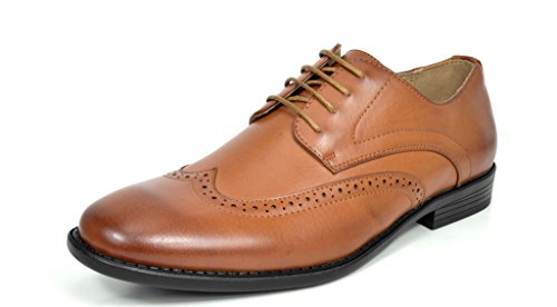 Bruno MARC DP08 Men's Formal Modern Leather Wing Tip Loafers Lace Up Classic Lined Oxford Dress Shoes BROWN SIZE 15