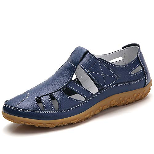 Z.SUO Women's Leather Sandals Flats Comfortable Casual Summer Walking Driving Shoes Fashion Wild Loafers Moccasins Outdoor Sandals(8 US,Navy Blue.1)