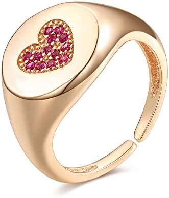 UMODE Jewelry 925 Sterling Silver Love Heart Simulated Garnet Diamond Cubic Zirconia CZ Open Signet Ring
