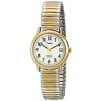 Timex - Reloj de banda de expansión de acero inoxidable de dos tonos T2H491 Easy Reader para mujeres