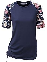 Women's Short Sleeve Top Raglan Floral Printed T-Shirt