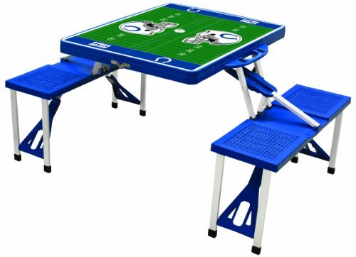 NFL Indianapolis Colts Football Field Design Portable Folding Table/Seats, Blue (Indianapolis Colts Nfl Desk)